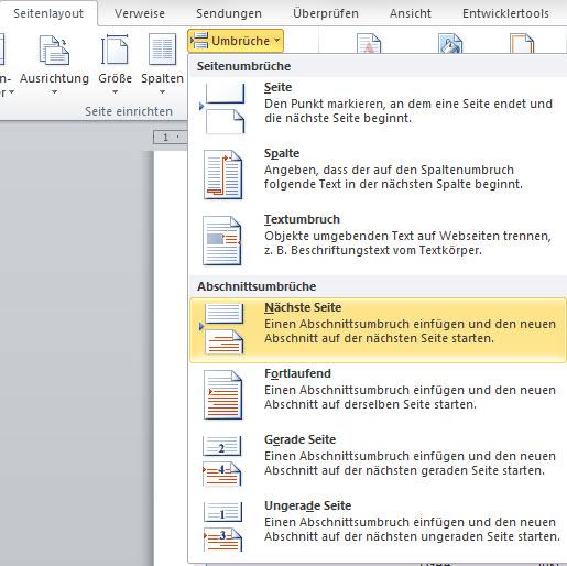 Reiter Seitenumrbuch in Word2010