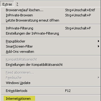 IE Extras Interneteinstellungen