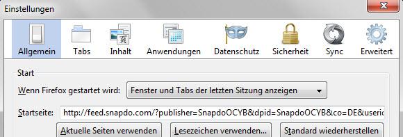 Snapdo aus Firefox entfernen