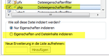 Windows Indizierungsoptionen Dateitypen PHP