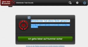 Bitdefender - blockiert Webseite