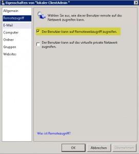 SBS2011 Eigenschaften Benutzerkonto Remotezugriff