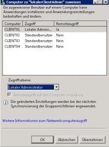 SBS2011 Benutzer lokalen Computer zuweisen