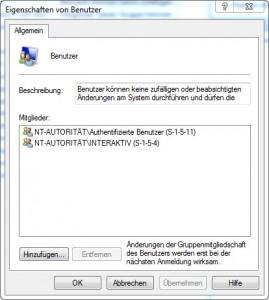 Windows 7 Gruppe Benutzer