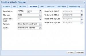 Proxmox 3 - KVM - Laufwerk
