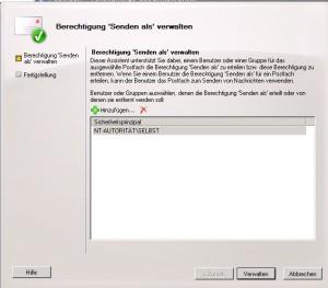 SBS2011 - Exchange senden als Bereichtigung