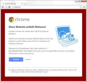 Google weist auf Malware bei PHP.net hin