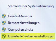 Windows 7 - Erweiterte Systemeinstellungen