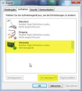 Windows 7 - Sound - Gerät aktiv