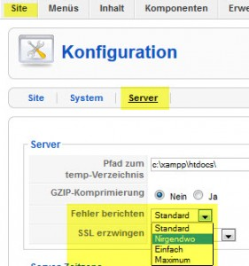 Joomla Konfiguration Fehlerbericht