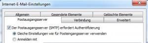 Outlook 2010 - SMTP Authentifizierung