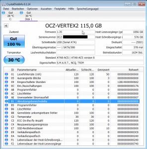 CrystalDiskInfo - OCZ Vertex2