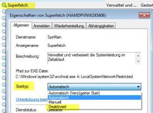 Windows7 SuperFetch deaktivieren