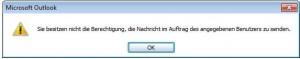 Outlook 2010 - Fehler Sende Berechtigung