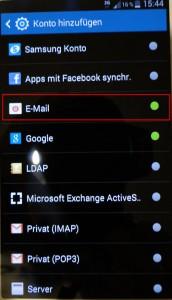 Samsung E-Mail hinzufügen
