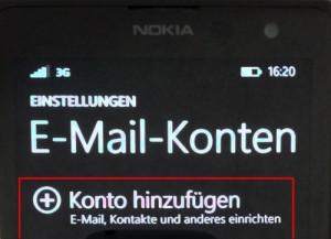 Windows Phone E-Mail Konto hinzufügen