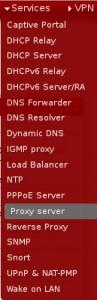 pfSense Menue Services Proxy Server
