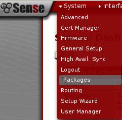 pfSense Menue Packages
