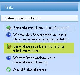SBS2011 Konsole Task Restore