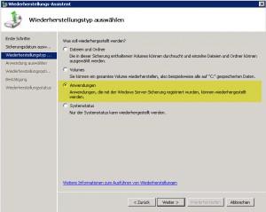 SBS2011 Restore Anwendungstyp
