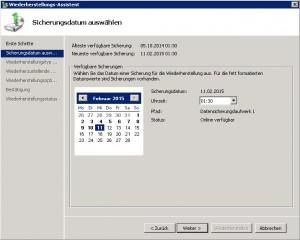 SBS2011 Restore Datum wählen