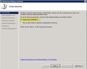 SBS2011 Restore Serverwahl