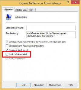 Windows 8 Administrator Eigenschaften