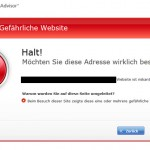 McAfee Website Warnung